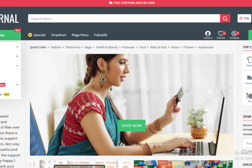 Online shop website design and development